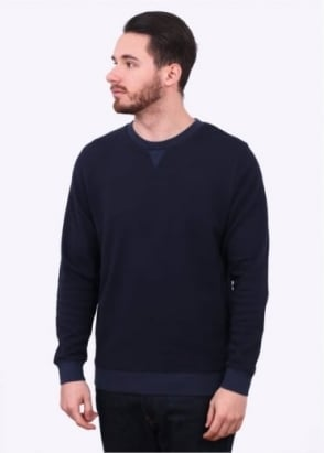 Sunspel Lightweight Cellulock Crew Neck Sweater - Navy