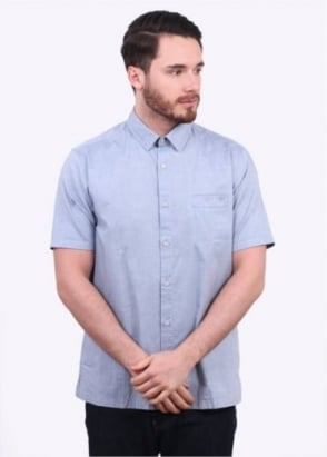 Sunspel Washed SS Oxford Shirt - Indigo
