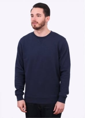 Sunspel LS Reverse Crew Sweater - Navy