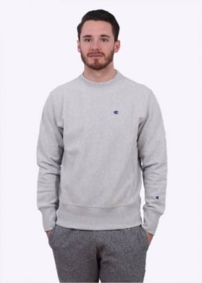 Champion Reverse Weave Classic Logo Crew Sweater - Light Grey