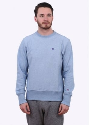 Champion Reverse Weave Classic Logo Crew Sweater - Light Blue