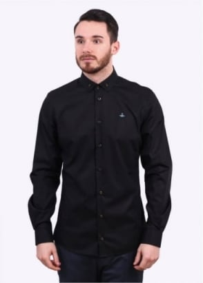 Vivienne Westwood Mens Polo Stretch Button Shirt - Black