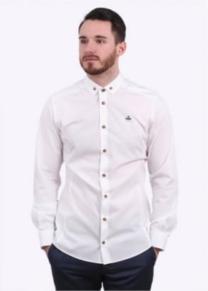 Vivienne Westwood Mens Polo Stretch Button Shirt - White