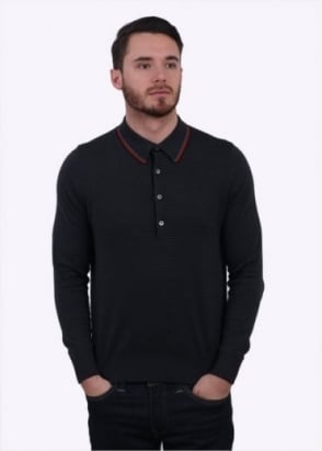 Paul Smith LS Fine Stripe Polo Shirt - Dark Grey