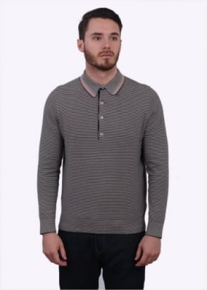 Paul Smith LS Fine Stripe Polo Shirt - Grey