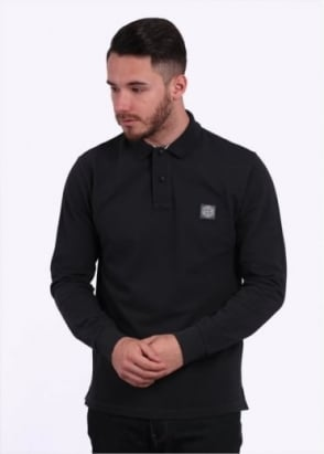 Stone Island LS Trim Polo - Black