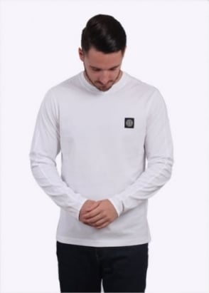 Stone Island LS Badge Tee - White