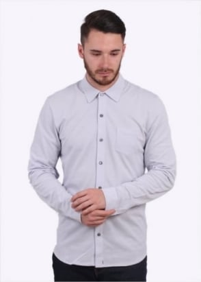 Sunspel LS Pique Button Down Shirt - Grey