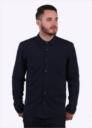 Sunspel LS Pique Button Down Shirt - Navy