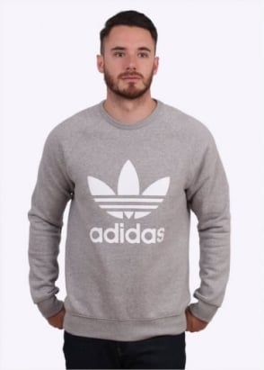 Adidas Originals Apparel Trefoil Crew Sweater - Medium Grey