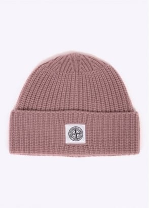 Stone Island Logo Beanie Hat - Antique Rose