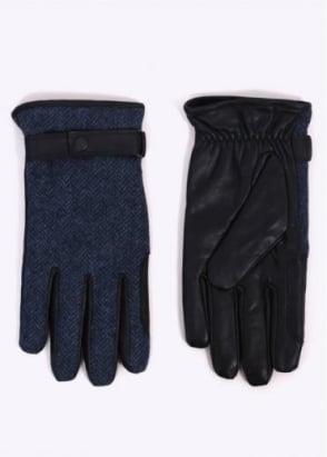 Barbour Acomb Tweed Gloves - Navy/Black