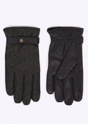 Barbour Acomb Tweed Gloves - Olive/Brown