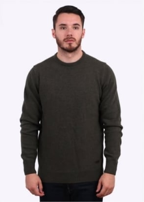 Barbour Patch Crew Sweater - Olive