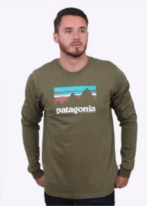 Patagonia LS Shop Sticker Tee - Fatigue Green