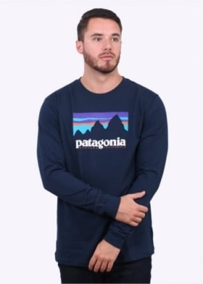 Patagonia LS Shop Sticker Tee - Navy Blue