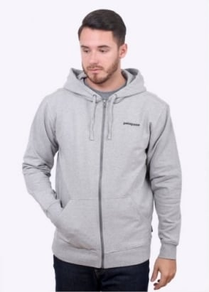 Patagonia P-6 Logo Zip Up Hoodie - Feather Grey