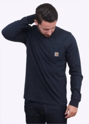 Carhartt Long Sleeve Pocket T-Shirt - Navy Heather