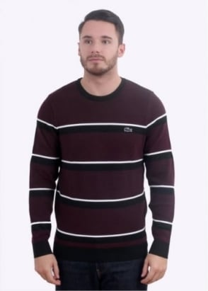 Lacoste Stripe Sweater - Black / Vendage