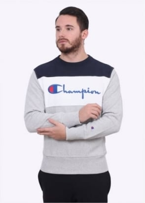 Champion Stripe Logo Crew Sweater - Navy / White / Grey