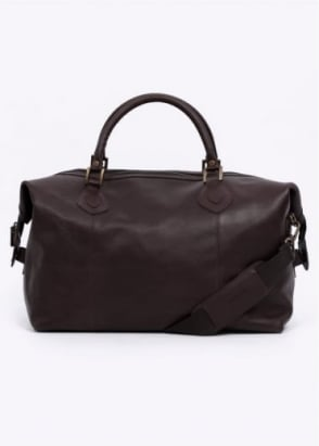 Barbour Leather Medium Travel Bag - Chocolate
