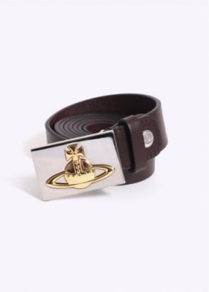 Vivienne Westwood Mens Gold Square Orb Buckle Belt - Brown