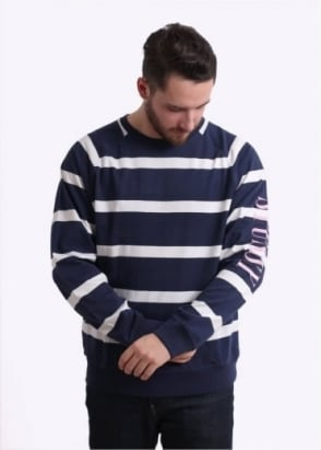 Stussy Striped Raglan Crew Sweater - Navy
