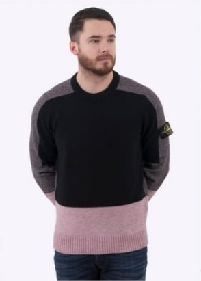Stone Island Knit Jumper - Black /Charcoal / Pink
