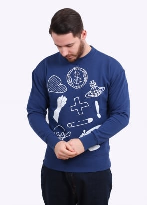 Vivienne Westwood Mens Anglomania News Sweater - Blue