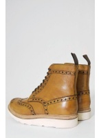 Grenson Fred Leather Tan Vibram Brogue Boots