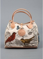 Yuketen Bird Print Canvas & Leather Tote Bag