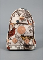 Yuketen Bird Print Canvas & Leather Triangle Backpack Bag Cream