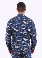 Barbour x White Mountaineering Wave Shirt - Blue Wave Print