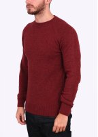 Barbour Heritage Staple Lambswool Crew Neck Jumper - Ruby