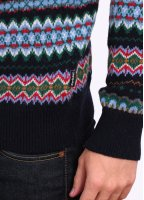 Barbour Heritage Caistown Fair Isle Lambswool Jumper - Midnight Blue