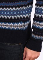 Barbour Heritage Caistown Fair Isle Lambswool Jumper - Navy Blue