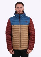 The North Face Tonnerro Hooded Down Jacket - Moab Khaki / Dish Blue / Brick House Red