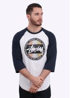 Stussy Metallic Dot Raglan Tee - White / Navy