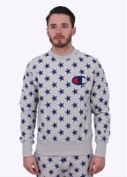 Champion Reverse Weave Allover Star Print Sweater - Grey