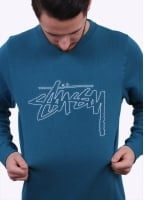 Stussy Stock Outline Sweater - Blue