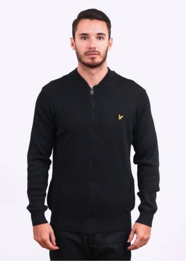 Lyle & Scott Vintage Knitted Bomber Jacket - Charcoal