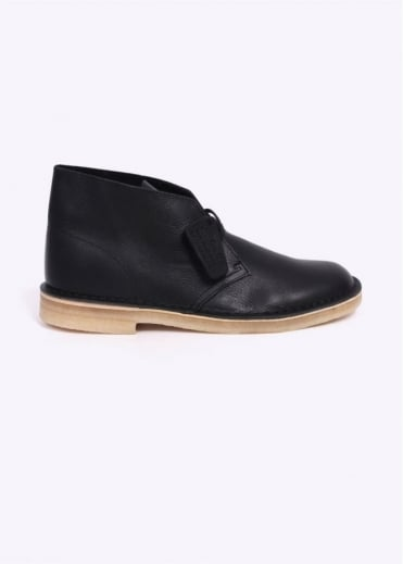 Clarks Originals Leather Desert Boot - Black