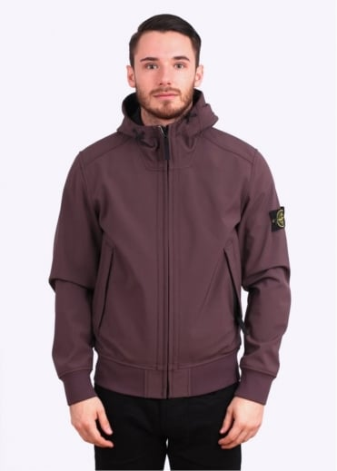Stone Island Soft Shell - R Hooded Bomber Jacket - Purple