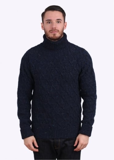 Barbour Dunston Roll Neck Jumper - Navy