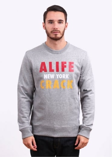 Alife Crack Crewneck Sweatshirt - Heather Grey