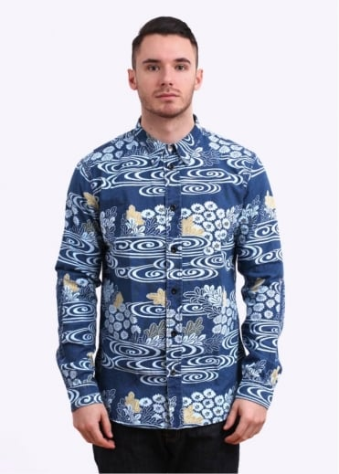 Paul Smith Red Ear Indigo Kimono River Shirt - Blue