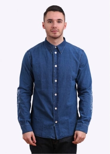 Paul Smith Red Ear Pocket Denim Shirt - Blue
