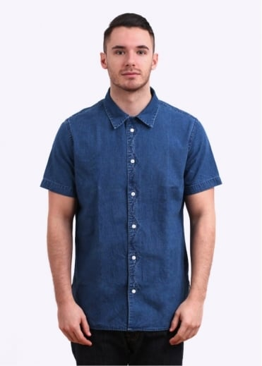 Paul Smith Red Ear Short Sleeve Denim Shirt - Blue