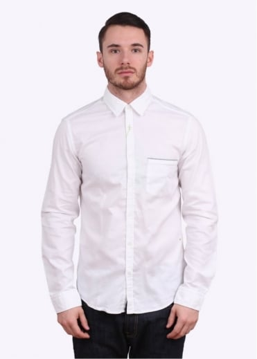 Hugo Boss Green Bayolo LS Shirt - White