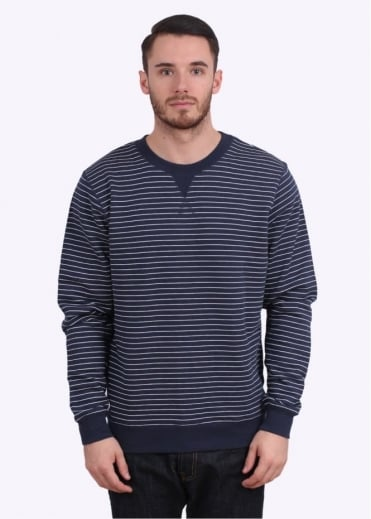 Sunspel Loopback Sweat Top - Navy / White